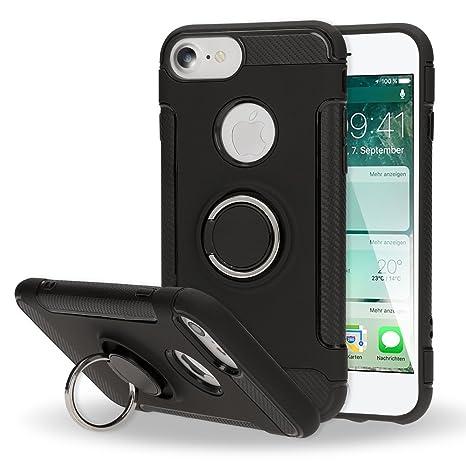 NALIA Funda con Anillo para iPhone 7, Carcasa para Soporte Movil Coche Magnetico con 360