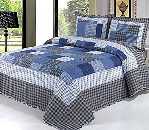 Beddingleer Fashion 100% Cotton Quilted Bed Spread Bedspread Printed Checked Comforter Set, 3 Pieces, Navy, Double/King, 230x250cm