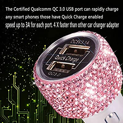 Dual USB Car Charger Quick Charge 3.0 Bling Bling Crystal Car Decorations Pink for Fast Charging Car Decors for iPhone Android iOS etc.: Home Audio & Theater