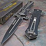 """CRUSADER"" DAGGER STYLE FOLDING KNIFE w/ CROSS ON HANDLE – BLACK"