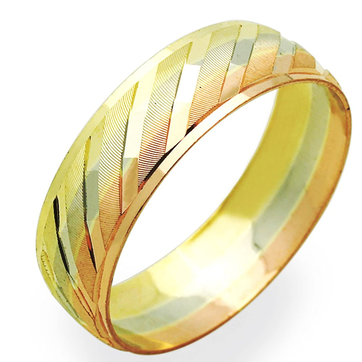 Amazon 14K Tri Color Gold 6mm Wedding Band Size 5 To 13 Jewelry