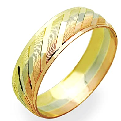 Amazoncom 14K Tri Color Gold 6mm Wedding Band Size 5 to 13