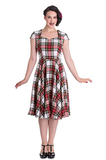 6714f1637dfb9 Hell Bunny Pinup 50s Dress Aberdeen Red White Tartan Stewart  Amazon.co.uk   Clothing
