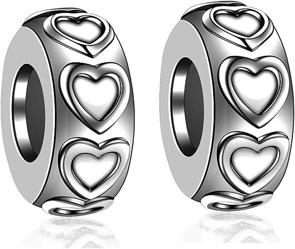 Lovans 2 PCS 925 Bouchon en Caoutchouc d'espacement en Argent Sterling pour  Bracelets Pandora Bricolage