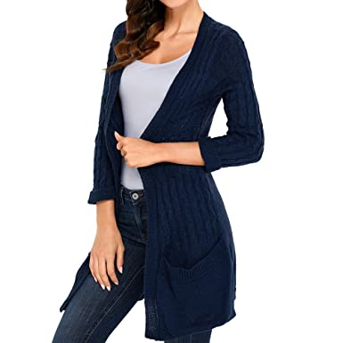 SUBWELL Women s 3 4 Sleeve Open Front Knit Cardigan Sweater Top Casual Coat  Outwear 5ac0595fd