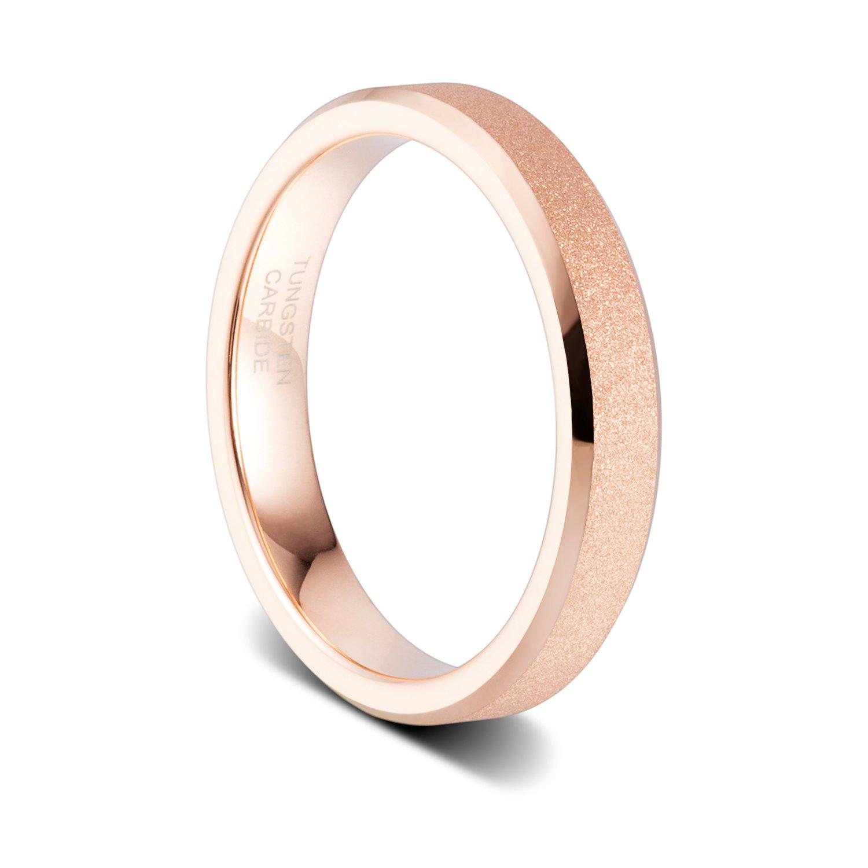 TUSEN JEWELRY 4mm Women's Rose Gold Sandblasted Finish Tungsten Wedding Ring High Polished Beveled Edge Size:4