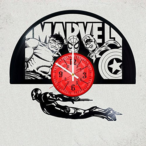 - The Avengers MARVEL HULK THOR SPIDER MAN Handmade Vinyl Record Wall Clock HANDCRAFTED 12 inches made from VInyl Record best decor for your kids bedroom gift for women IRON MAN
