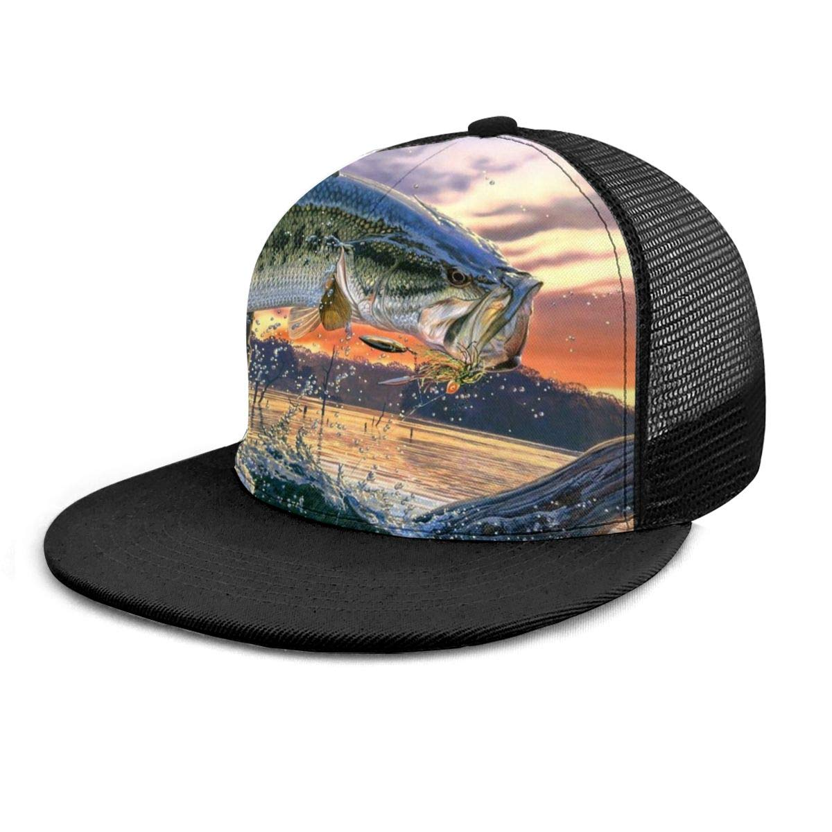 Unisex 100/% Polyester Mouth Bass Jumping Out of The Sea Mesh Cap Quick Dry Mesh Back Trucker Hat for Unisex