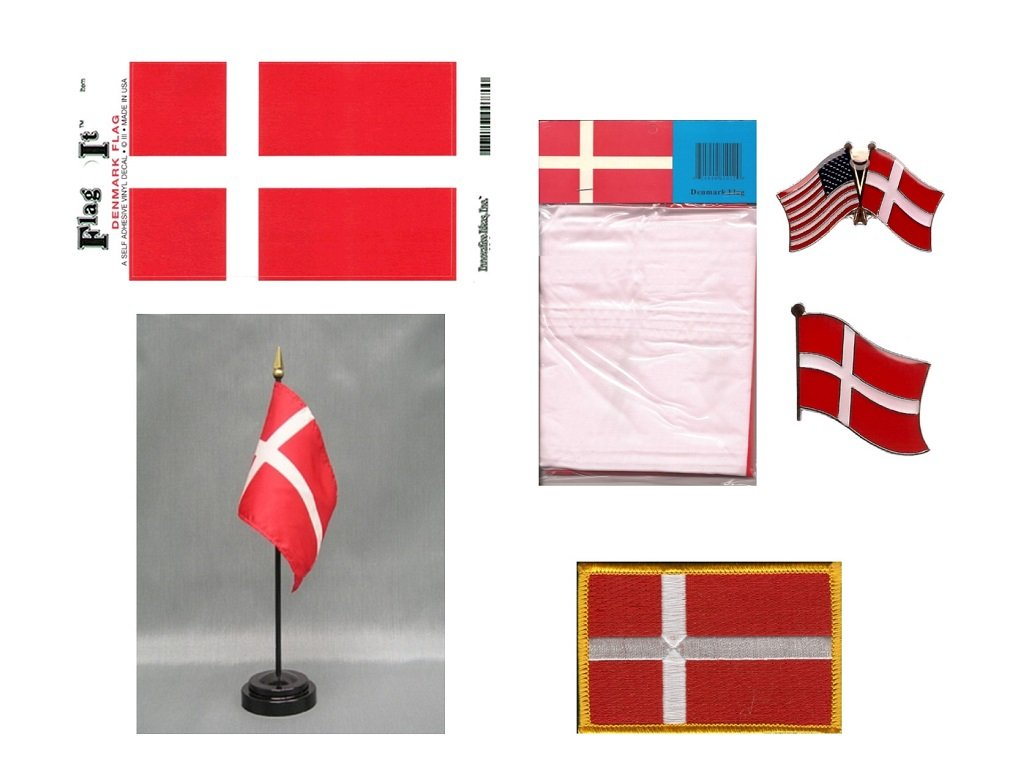 Denmark Heritage Flag Pack - Includes a Danish 3x5' Flag, Vinyl Flag Decal, One Single & One Double Friendship Flag Lapel Pin, Miniature Desk Flag with Stand & One Iron-On Flag Patch