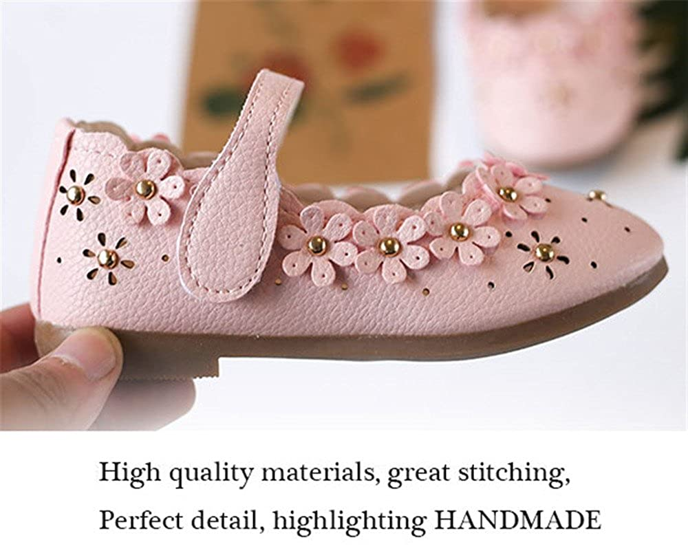Full Win Girls Leather Solid Flower Hollow Mary Jane Princess Dress Shoes