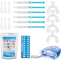 KAV PLUS 6 Gel Teeth Whitening Kit PRO Home Kit LED Lazer Light, 4x Mouth Trays + Free Teeth Shade - Professional Teeth Whitening KIT