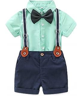 c66bd56960ec Toddler/Baby Boys Gentleman Outfits Suits Toddler Infant Short Sleeve  Shirt+Bib Pants+