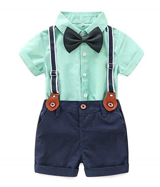 9e984dcb5 Baby Boys Short Sleeve Gentleman Outfits Suits Shirt Suspender Pants with Bowtie  Infant Overalls Clothing Set
