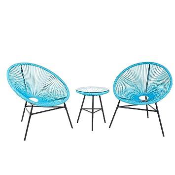 Beliani Gartenmöbel Set Kunststoff blau Acapulco: Beliani: Amazon.de ...