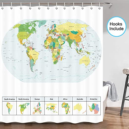Amazon Com Jawo Map Shower Curtain The World Map With Detailed