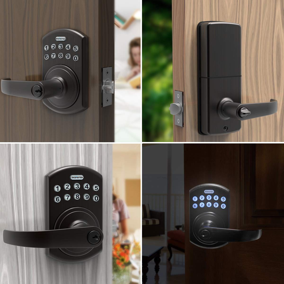 Signstek Keypad Entry Lever Door Lock with LED Backlit Keypad Password/Key Accessibles, Oil Rubbed Bronze by Signstek (Image #7)