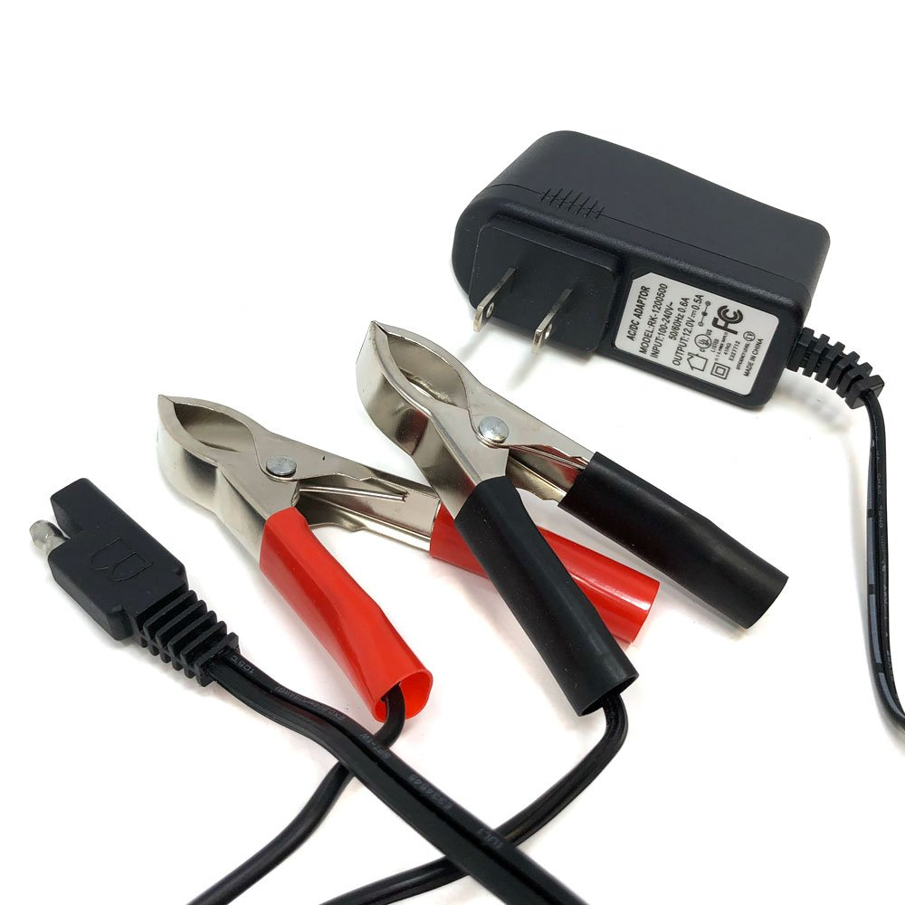 Powersports Battery Trickle Charger 12v 500MA 0.5A Lead Acid Battery with LED Status Indicator