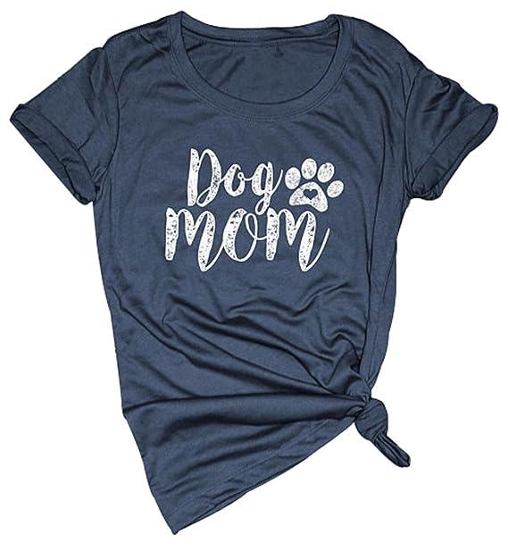 abbaa0c4 LONBANSTR Dog Mom T Shirt Women's Casual Letter Print Short Sleeve Tops Tee  (Small)