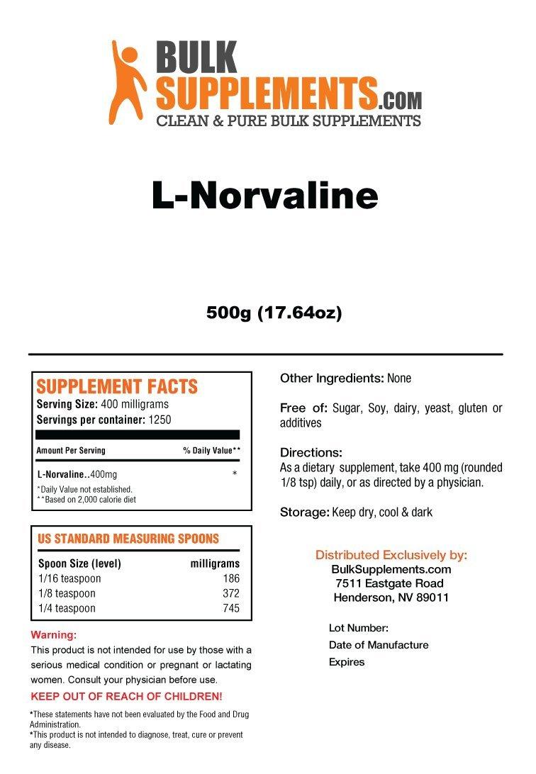 BulkSupplements Pure L-Norvaline Powder (500 grams)