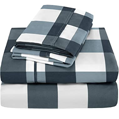 Bare Home Premium 1800 Ultra-Soft Microfiber Collection Sheet Set - Double Brushed - Hypoallergenic - Wrinkle Resistant - Deep Pocket (King, Gingham Blue)