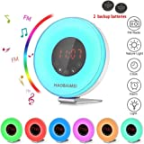 HAOBAIMEI Digital Light Alarm Clock - Wake Up Light Sunrise Alarm Clock with Natural Sounds and FM Radio, Sunrise and Sunset Simulation & Switch Colors LED Night Light for Bedroom, and Heavy Sleepers