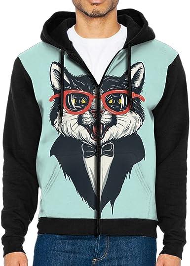 HZamora Mens Hoodie Funny Cat with Sunglasses Full-Zip Zipper Hooded Casual Sweatshirt Jackets