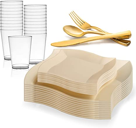 Amazon Com Kaya Collection Wave Bone Disposable Plastic Dinnerware Party Package Includes Dinner Plates Salad Dessert Plates Gold Cutlery Tumblers 120 Person Package Health Personal Care