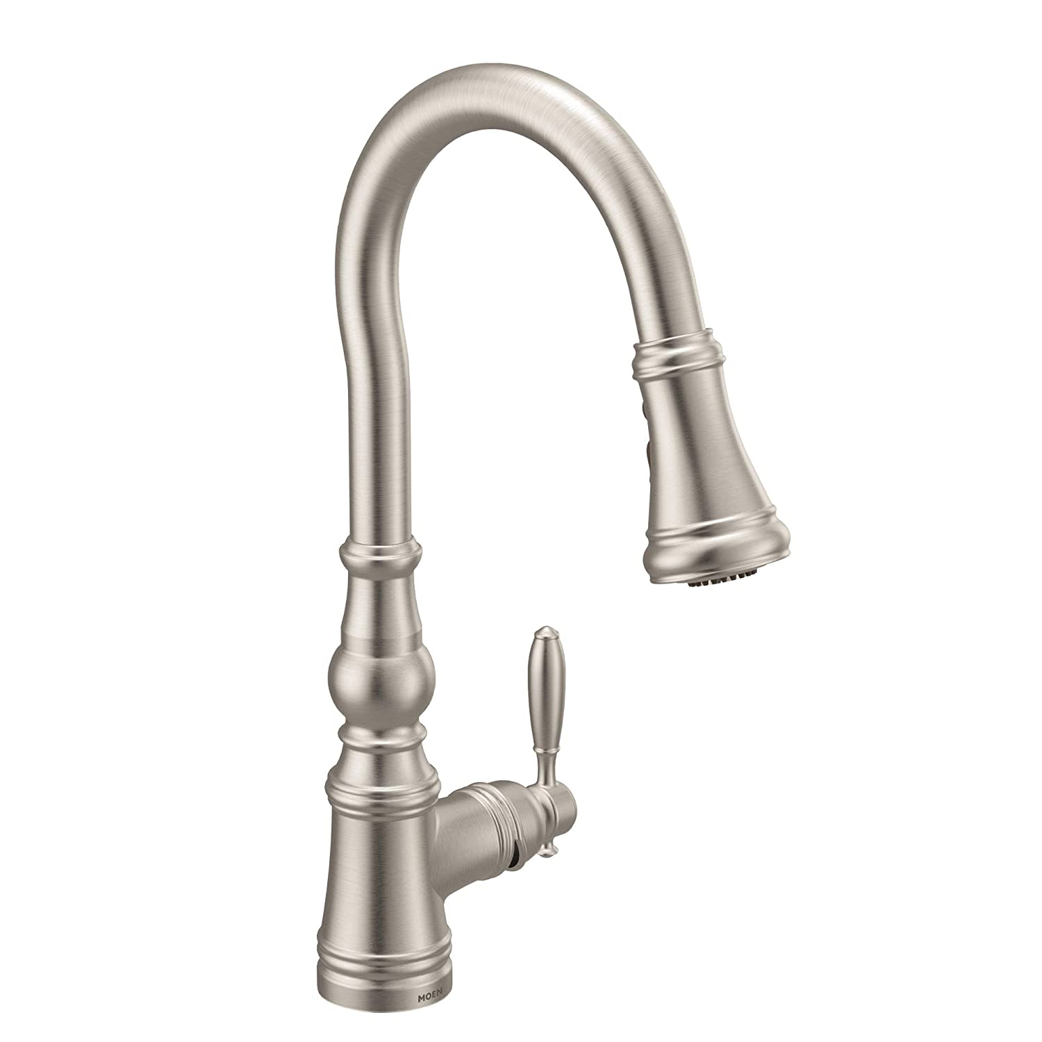 Moen S73004SRS Weymouth Shepherd's Hook Pulldown Kitchen Faucet Featuring Metal Wand with Power Boost, Spot Resist Stainless