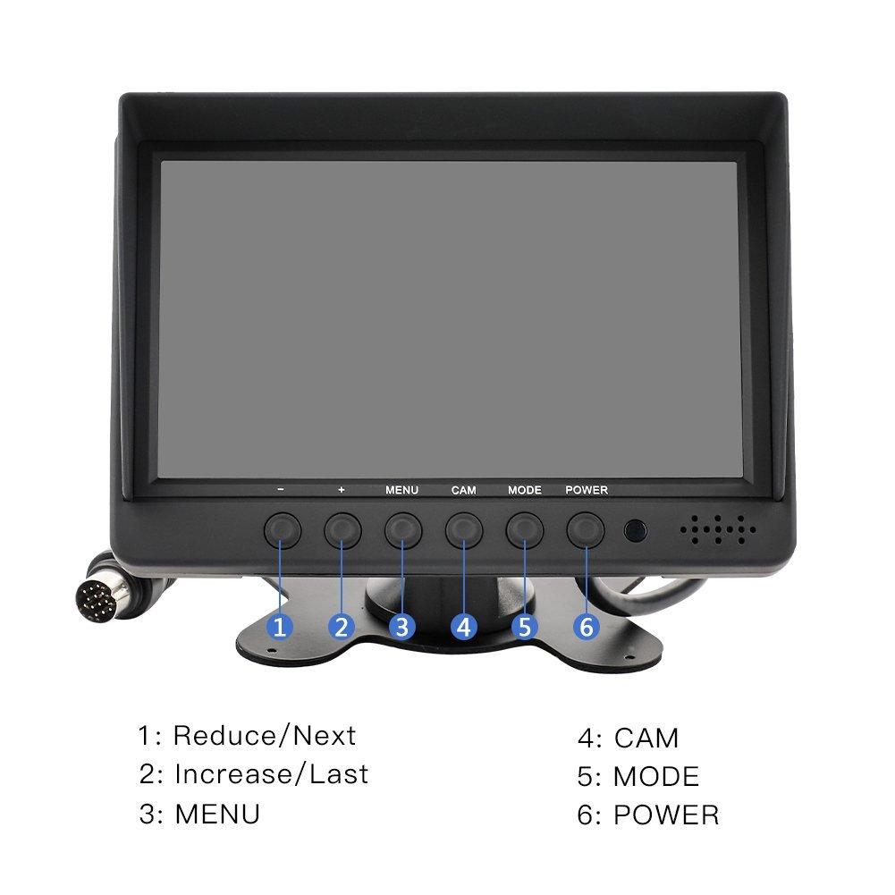kit di retromarcia per auto CCTV Sicurezza Monitor per auto Poggiatesta Monitor per telecamera Monitor AV Ingresso /… MiCarBa 7 pollici Auto Quad Video LCD Monitor per auto