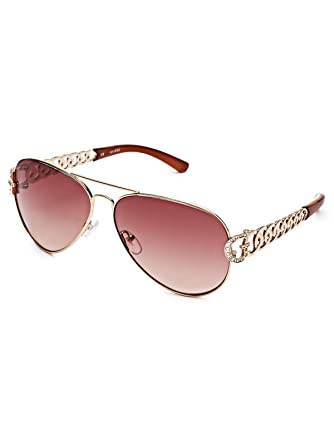 women aviator glasses 655o  GuessFactory Chain-Link Aviator Sunglasses