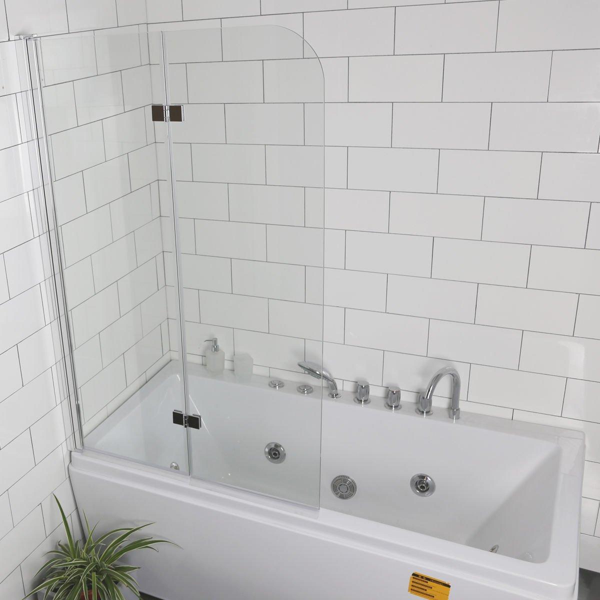 Tangkula 33.5''x55.0'' Tub Door Fold Frameless Hinged Shower Bathtub Door 1/4'' Glass