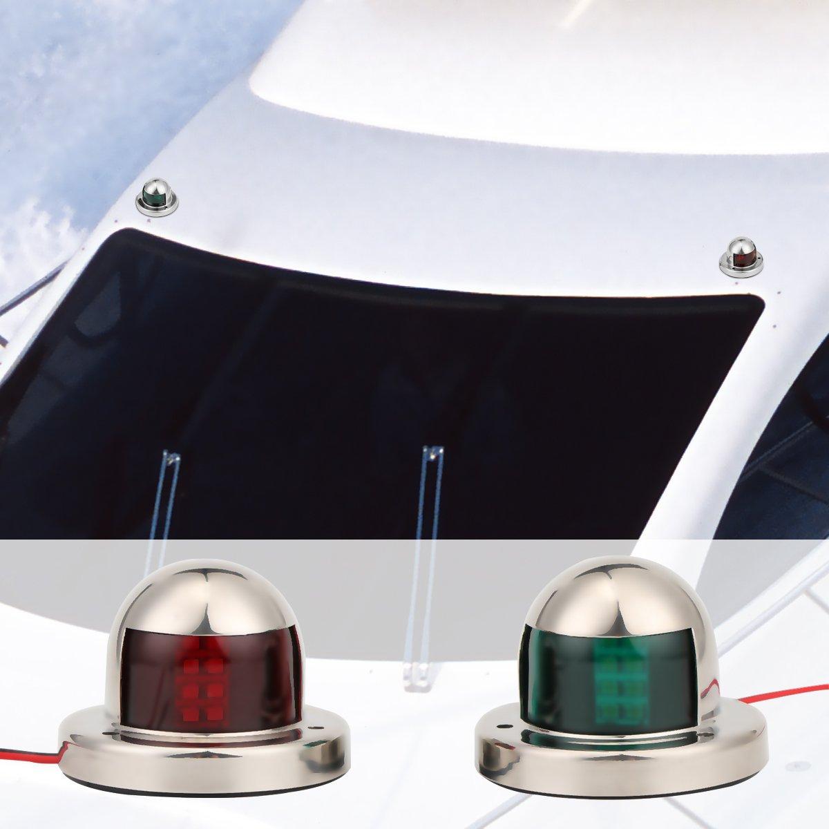 luci di segnalazione di sicurezza dellacciaio inossidabile 2pcs Luci laterali e starboard dellarco rosso e verde dellarco della lampada 12V LEMONBEST Luce di navigazione della barca