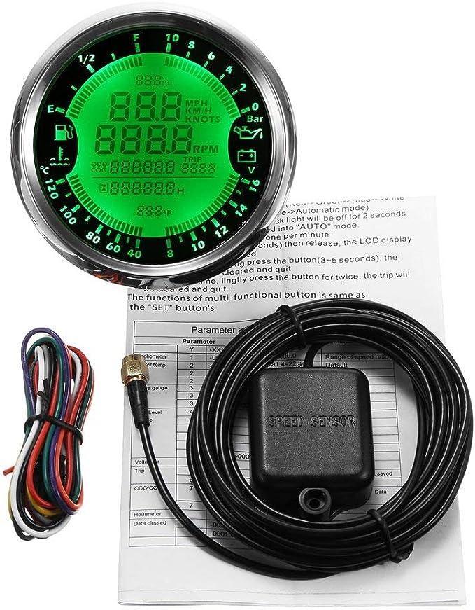 ELING Multi-functional Gauge Meter GPS Speedometer Tachometer Hour Water Temp Fuel Level Oil Pressure Voltmeter 12V 3-3//8 With Backlight
