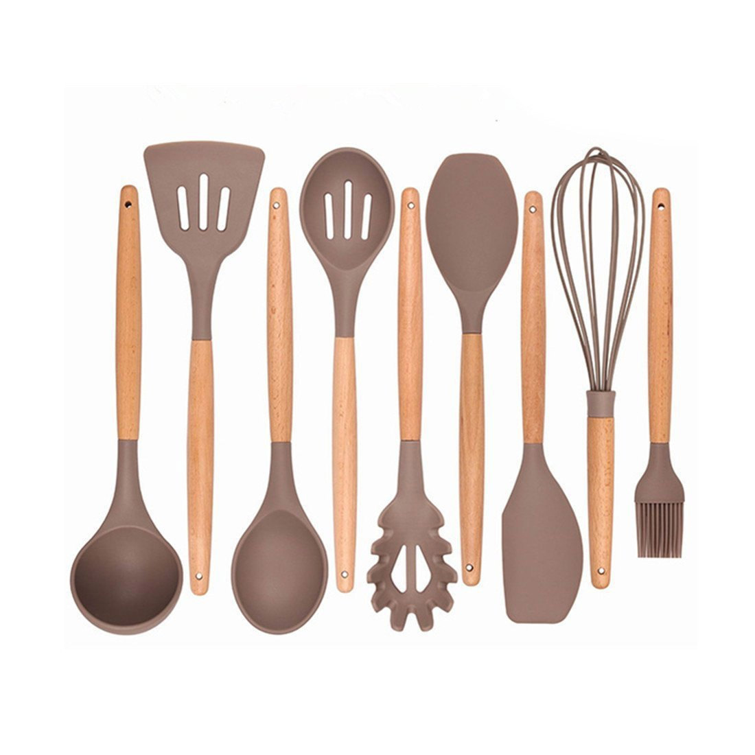 TOOGOO Kitchen Utensils - Cooking Utensil - 9-piece Silicone Utensil Set Spatula Set with Beech Wood Handle - for Nonstick Pots Pans Utensil Set - Kitchen Tools and Gadgets (utensil set)