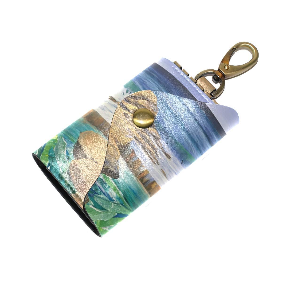KEAKIA Sea Art Leather Key Case Wallets Tri-fold Key Holder Keychains with 6 Hooks 2 Slot Snap Closure for Men Women