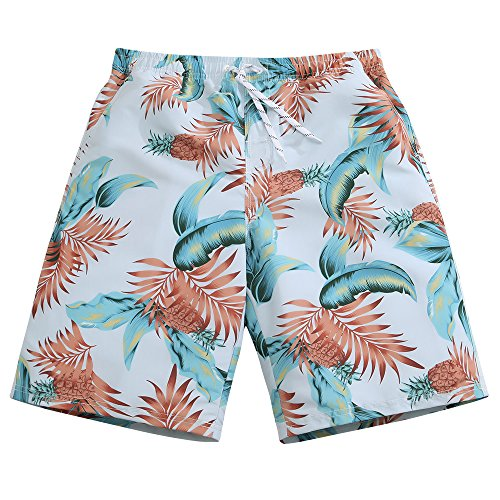 SULANG+Men%27s+Lightweight+Quick+Dry+Tropical+Leaves+Graphic+Board+Shorts+Medium+33-34