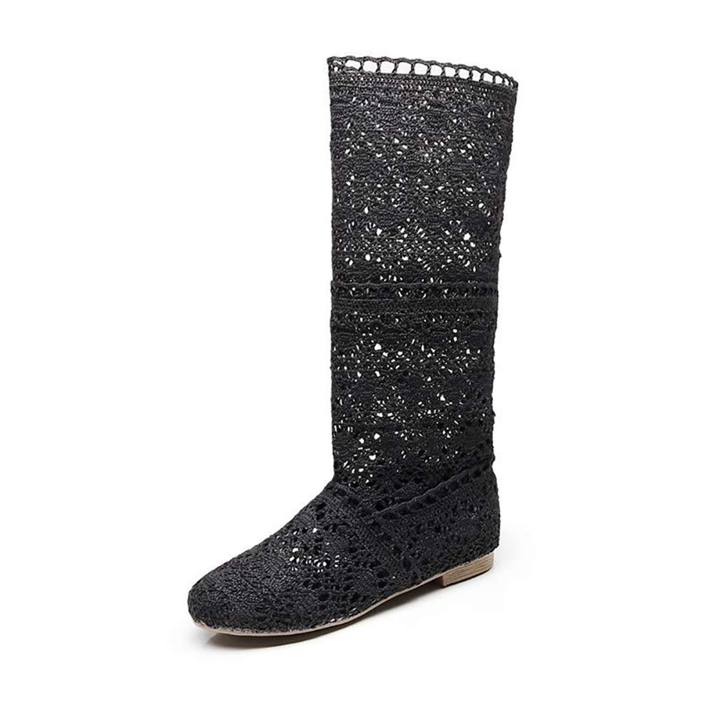 Mujer Verano Oto/ño Sandalias de Cu/ña Platform Malla Alto Boots Respirable Encaje Hueco Redonda Toe Zapatos Botas