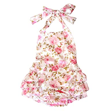 baby stores near me Lisianthus Baby Girls' Ruffles Romper Dress Summer Clothing Rose A Size 24M