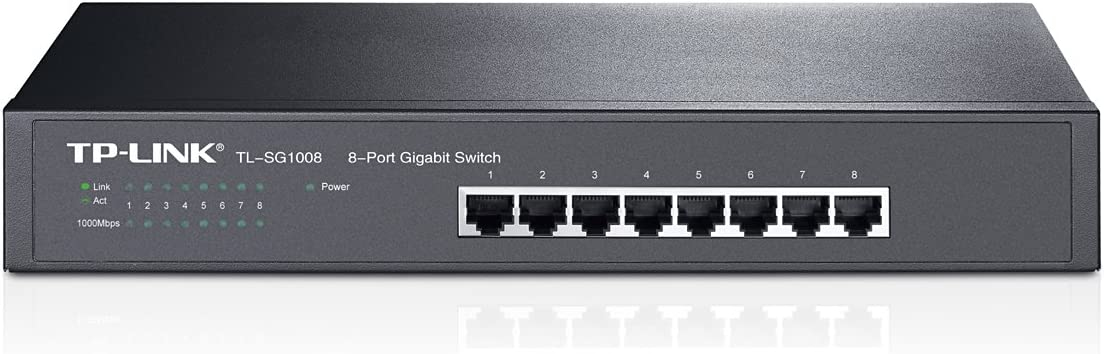 TP-Link 8-Port Gigabit Ethernet Unmanaged Switch | Plug and Play | Metal | Desktop/Rackmount | Limited Lifetime (TL-SG1008),Black
