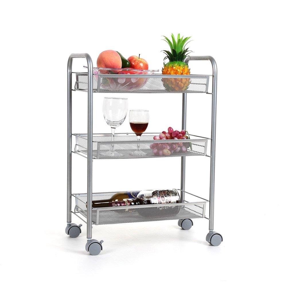 Details about 3-Tier Mesh Wire Rolling Cart Utility Kitchen Storage Cart  Shelves Basket Wheels