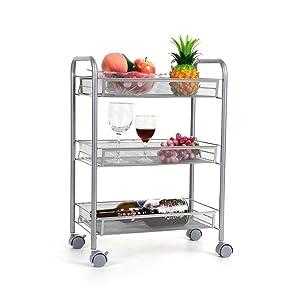 Homfa 3-Tier Mesh Wire Rolling Cart Multifunction Utility Cart Kitchen Storage Cart on Wheels, Steel Wire Basket Shelving Trolley,Easy moving,Silver