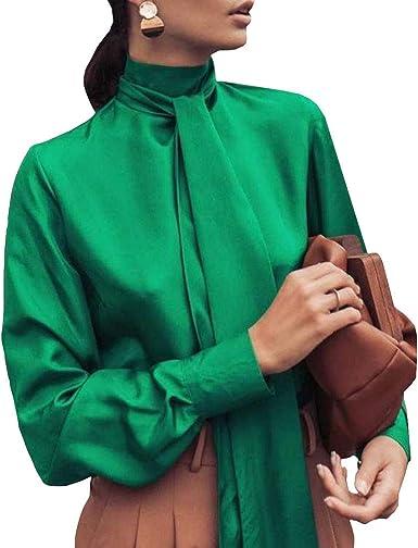 MEIHAOWEI Camisa De Cuello Alto De Mujer Pequeña Imita Tela Suave De Satén Camisa Suave Oficina Dama Sexy Blusa De Fondo Ocio Diario Camisa: Amazon.es: Ropa y accesorios