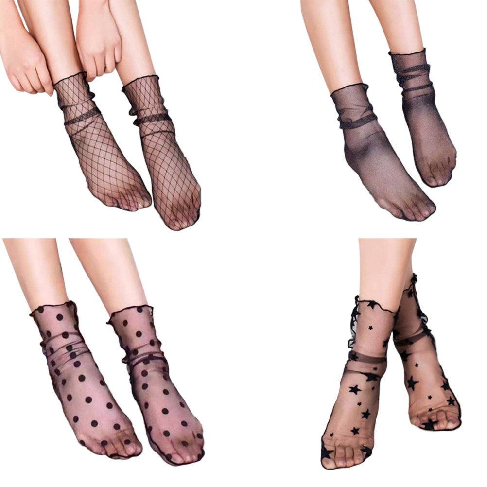 LUOEM 4 Pairs Women Ankle High Socks Sheer Slouch Socks Transparent Lace Socks, M, Black