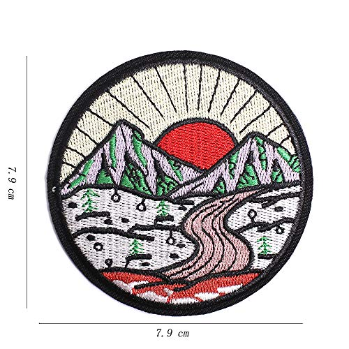 AXEN Sunrise from Mountain Vintage Patches Embroidered Iron on Badge Patches, Iron On Sew On Emblem Patches DIY Accessories, Pack of 2