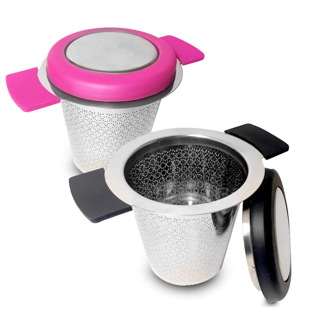 Tea Infusers For Loose Tea | Fine Mesh Tea Infuser | Pack of 2 | Double Handles For Hanging On Teapots Mugs and Cups |To Steep Loose Tea For Hot Tea Or Iced Tea | FDA Approved | 304 Stainless Steel
