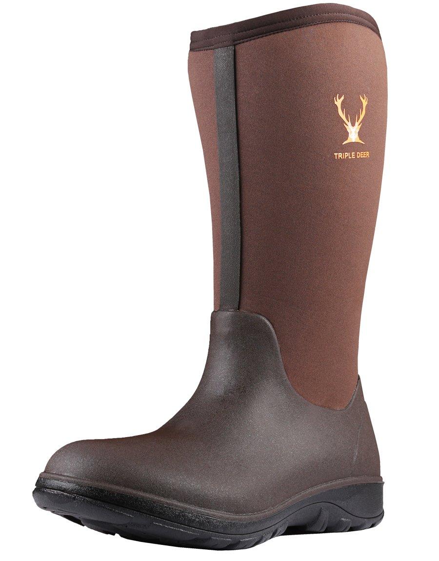 Triple Deer Men Neoprene Rubber rain Boots Waterproof New AIO Tall Snowboots (9 M US, Brown)