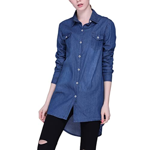 Zhhlinyuan High Quality Ventas calientes Long Sleeve Denim Long Shirt Jacket Lapel Cardigan Slim Fit...