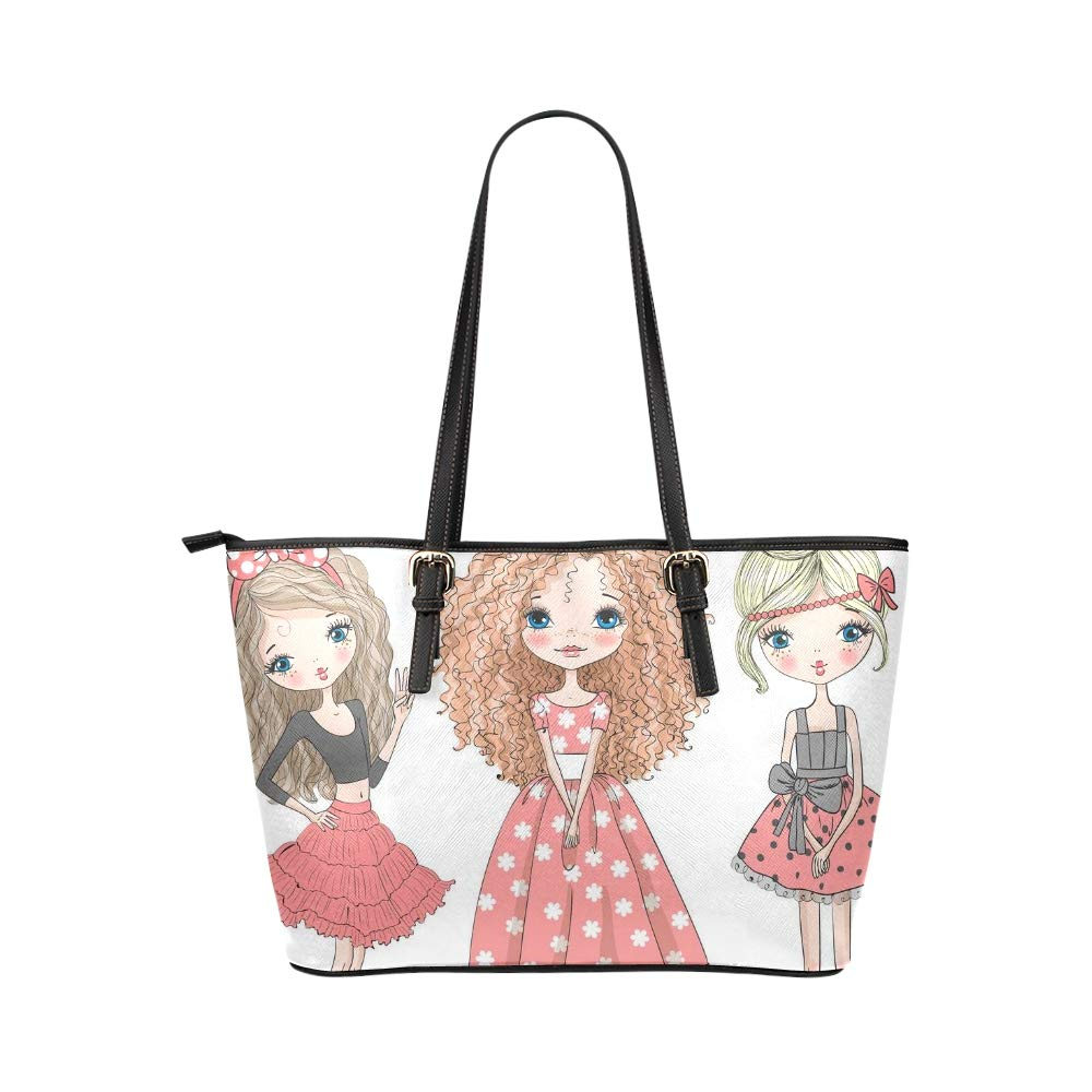 Hand Drawn Cartoon Beautiful Elegant Girl Large Soft Leather Portable Top Handle Hand Totes Bags Causal Handbags With Zipper Shoulder Shopping Purse Luggage Organizer For Lady Girls Womens Work