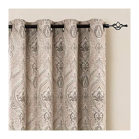 "Medallion Linen Textured Curtains for Living Room 84 Inch Length Drapes Damask Pattern Flax Draperies Window Treatments Room Darkening Sliding Glass Doors for Bedroom Curtain Panels 1 Pair Taupe - 【Simple Design】 Package includes 2 Damask Printed Light Filtering Curtains. Each measures 50""width by 84"" length. 【Style Fashion】Flaunting a large damask print in vivid colors, this beautiful panel pair creates a striking contrast, for a stylish and eye-catching look. 【Light Reducing】Room darkening fabric reduce up to 50% of sunlight, letting you enjoy a serene and comfortable internal environment during any time. - living-room-soft-furnishings, living-room, draperies-curtains-shades - 61lgYS 6yxL. SS570  -"