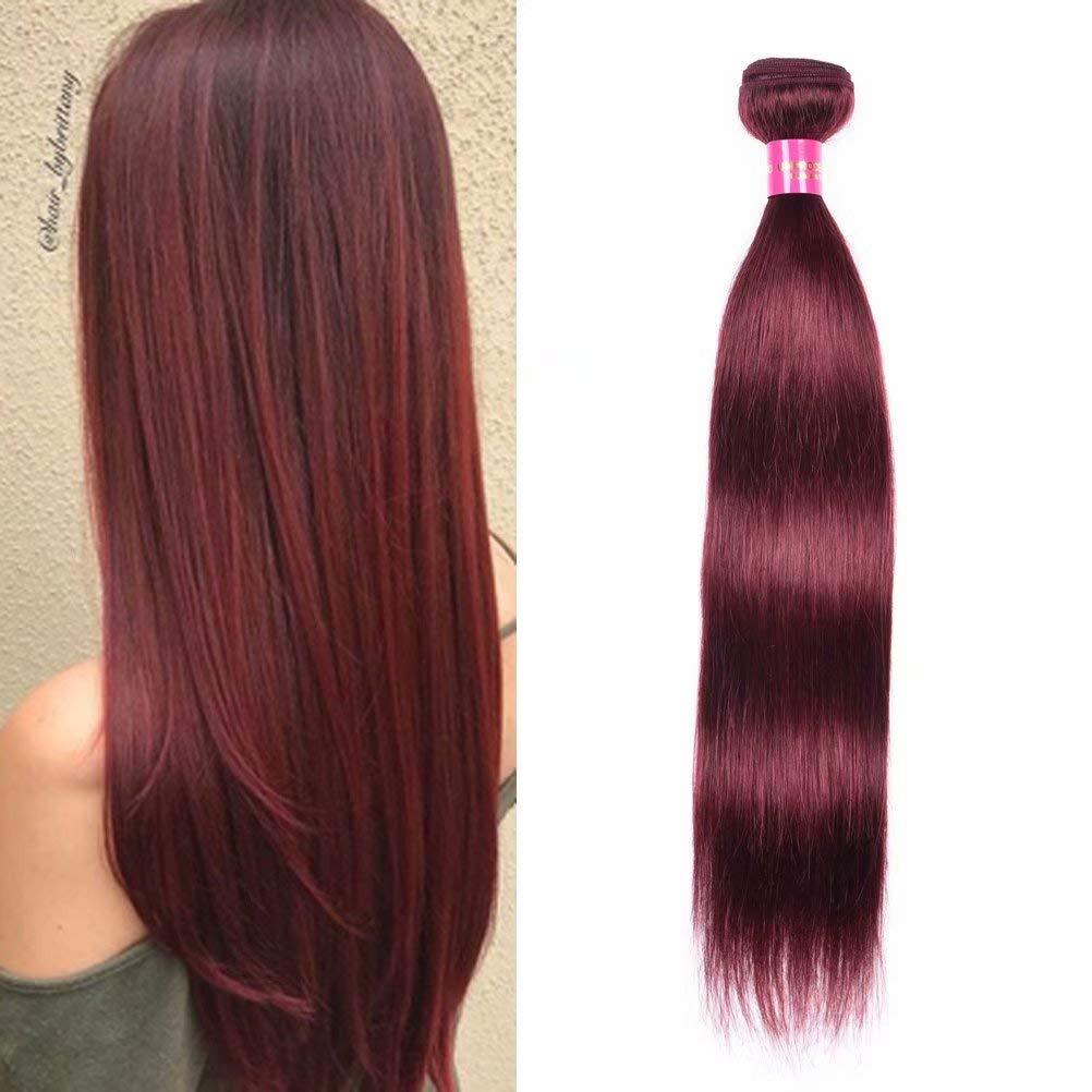 FEEL ME Straight Brazilian Virgin Hair Bundles 99J Burgundy Brazilian Hair Weave Bundles Top Quality Soft Silky Red Wine 100% Human Hair Extensions(10'',100g) by FEEL ME
